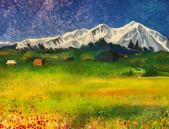 Mount Sopris in spring 24x36