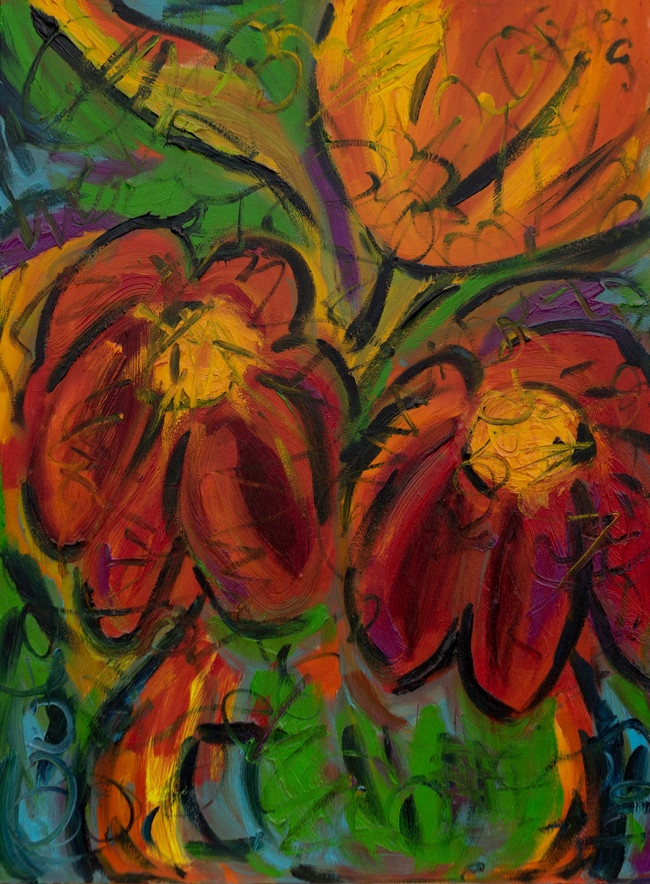 Red and Yellow Flowers 18x24