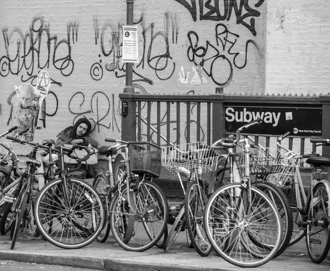 Sleeping by the subway