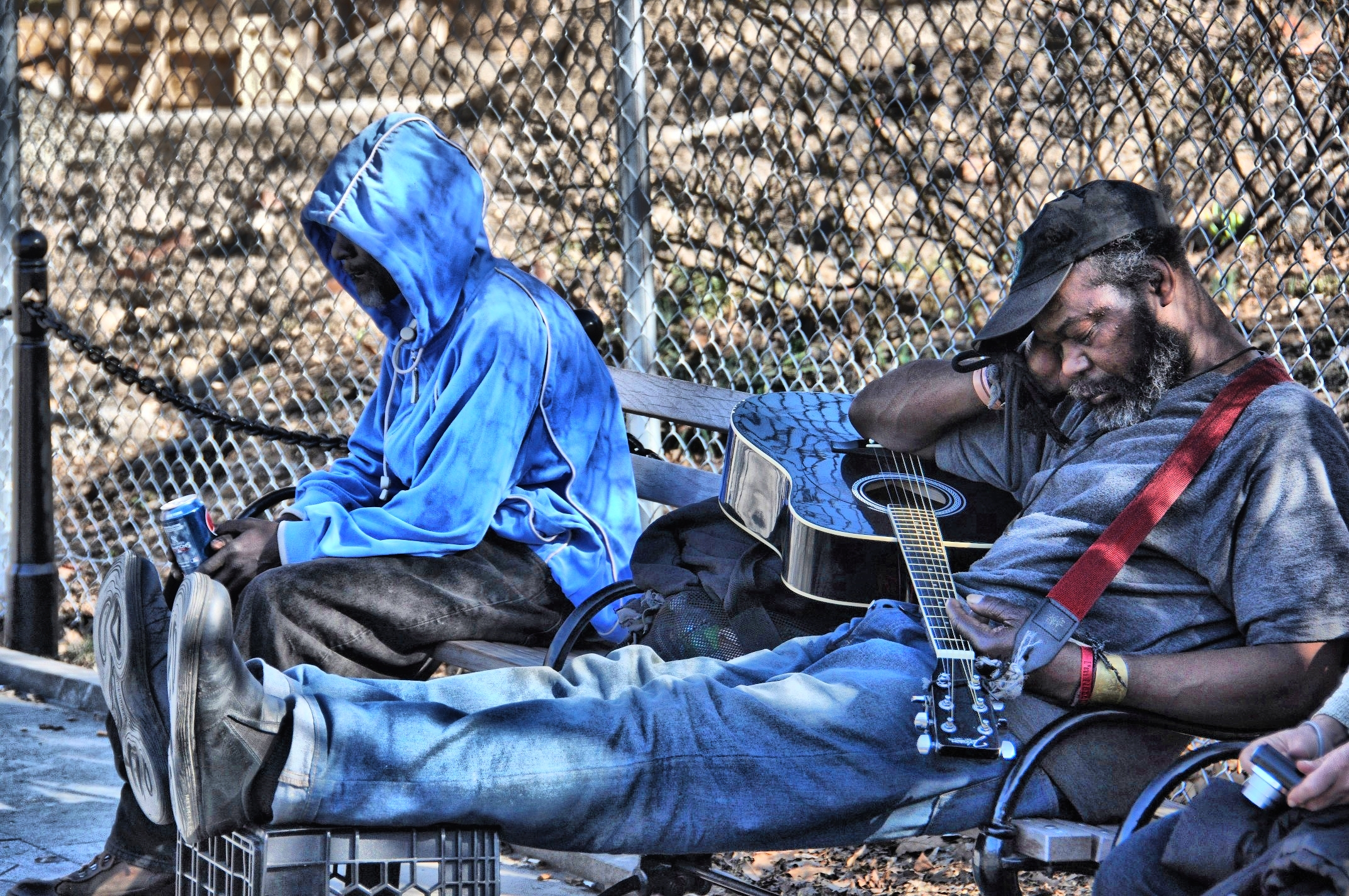 Two Guys Napping in Washington Sq.