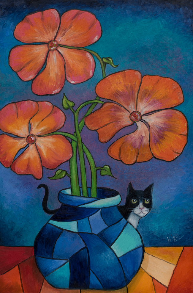 Cat and flowers-sold