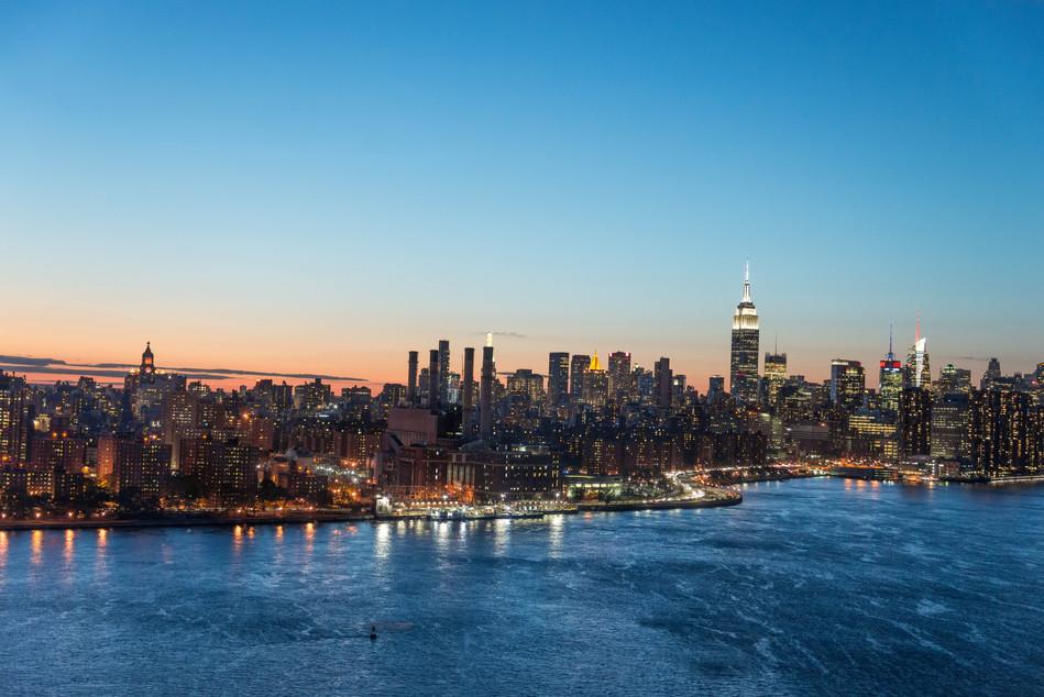 NYC skyline from a loft in Brooklyn