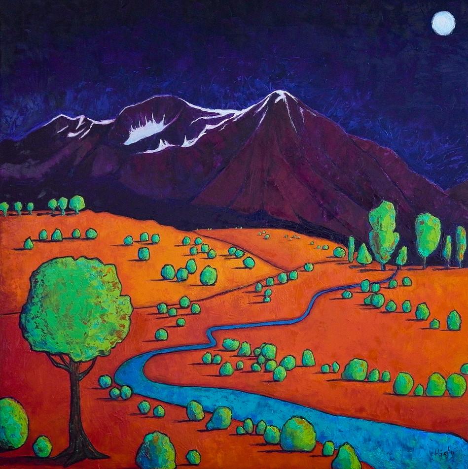 Mount Sopris at Night 36x36