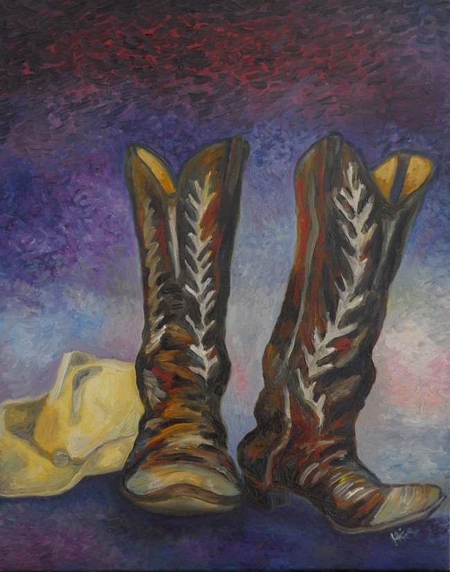Boots and hat 12x18
