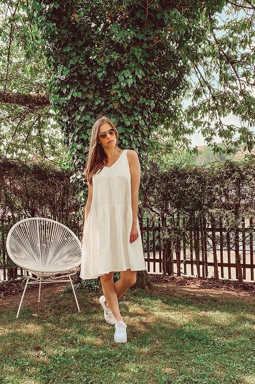 Mbym Kleid Apollonia weiß&beige