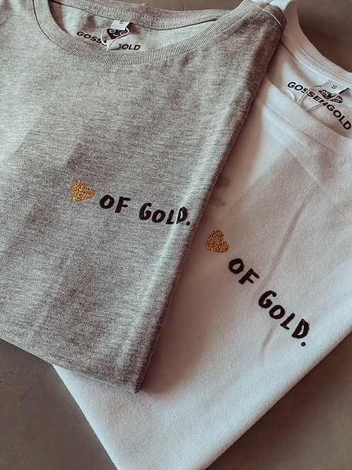 Gossengold T-Shirt Heart of Gold weiß & grau