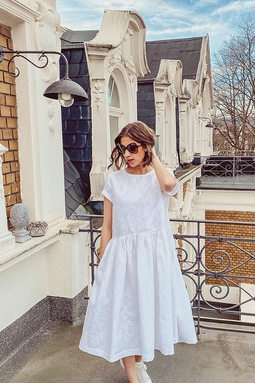 Talismann Leinenkleid Fatima weiß&beige