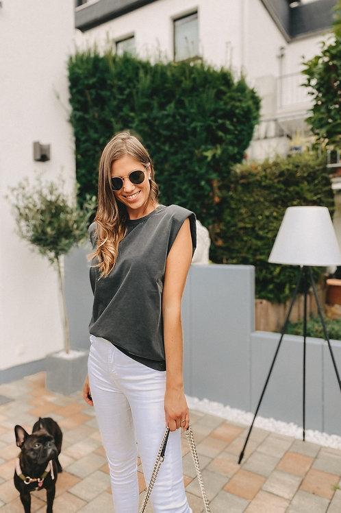 Mbym Schulterpolster T-Shirt grau