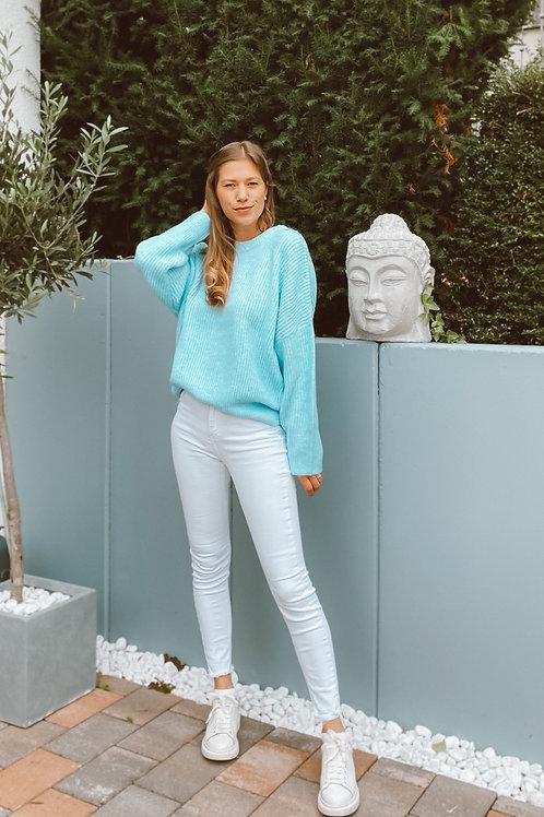 Mbym  Gillian Pullover Rippe Aqua light