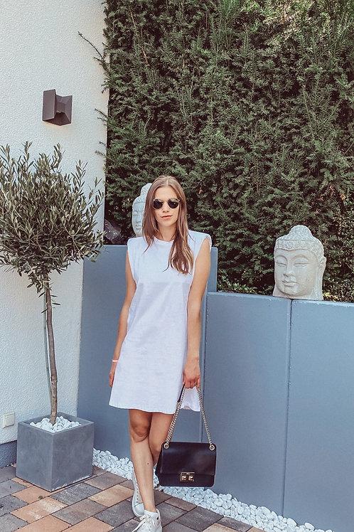 Schulterpolstern Kleid / Longshirt weiß