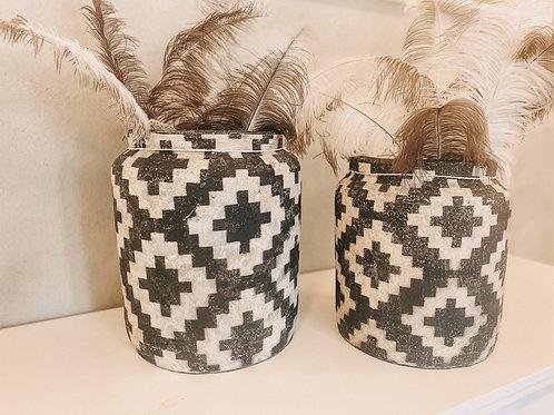 Keramiktopf schwarz/weiß