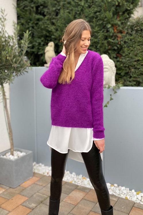 V-Ausschnitt Pullover Lila