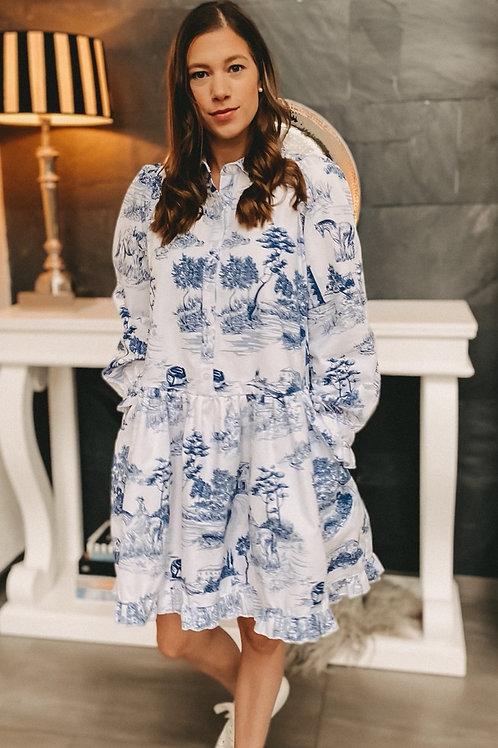 Kleid Toile de Jouy blau
