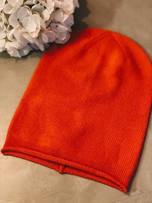 Zwillingsherz Kaschmirmütze orange