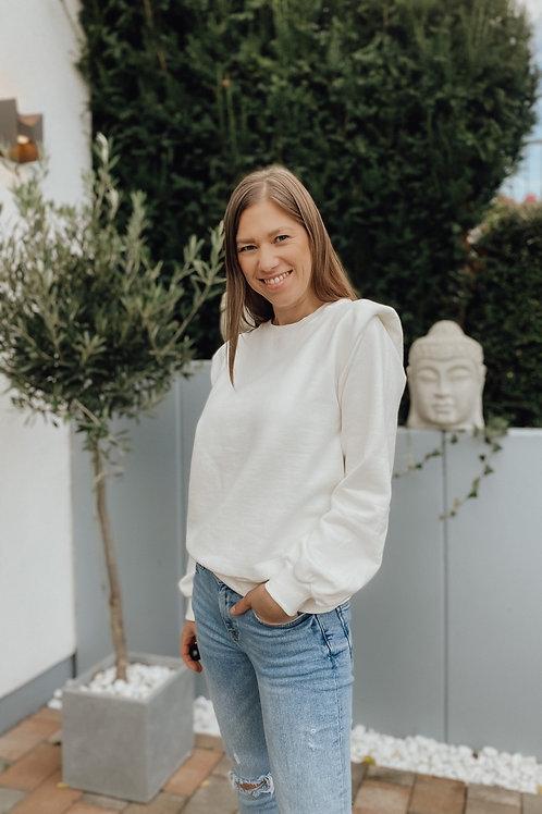 Mbym Schulterpolstersweater Carlotta Offwhite &  schwarz