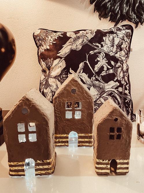 Handgefertigt Häuser 3er Set grau/Gold