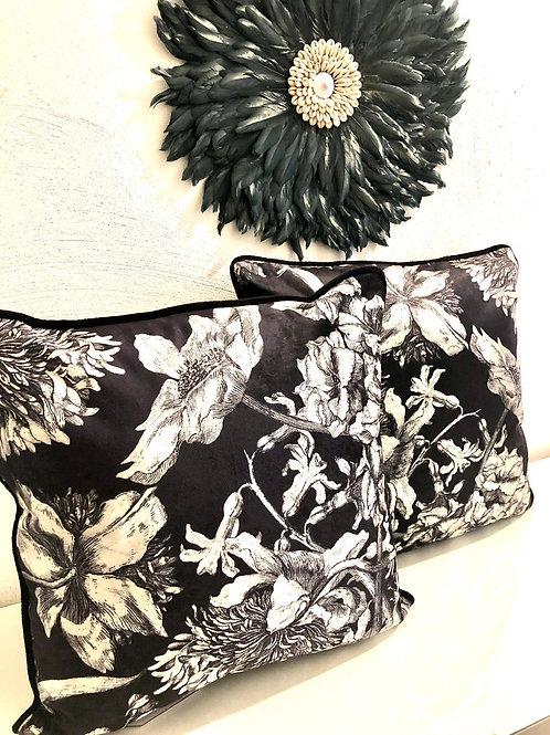 Blumenkissen Samt schwarz