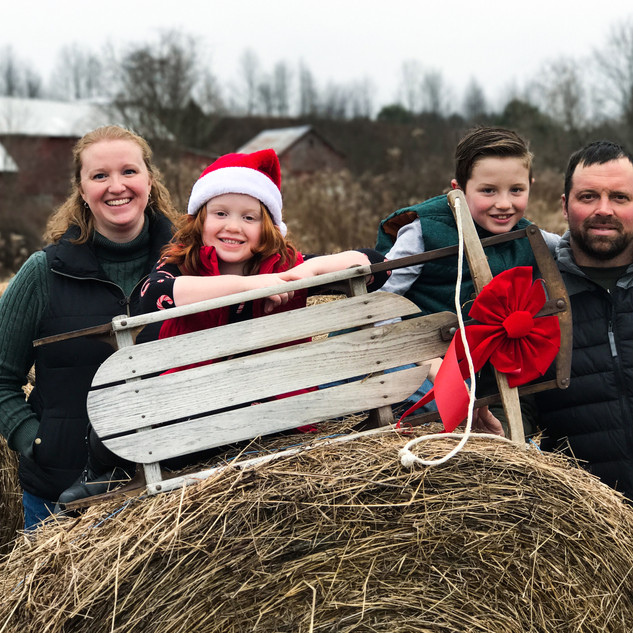 Family Christmas Hay Bales