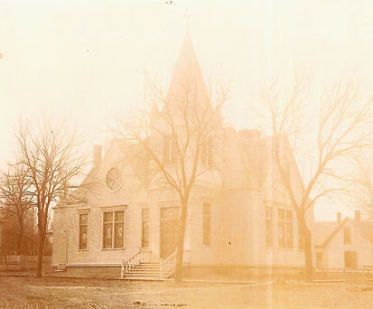 A pre-1920 picture of the Firs Baptist Church. The steeple and several windows are now gone, but most of the original building is there.