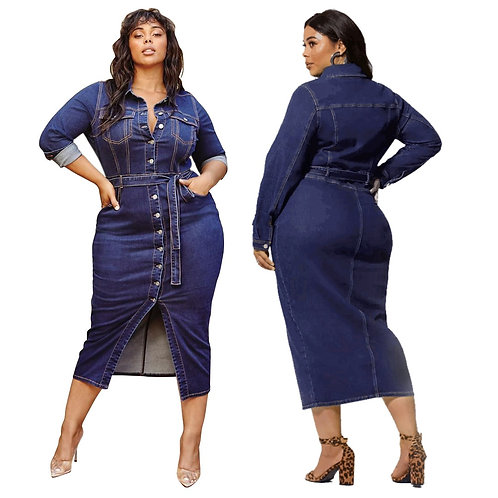 Fitted Denim Jean Dresses With Belt