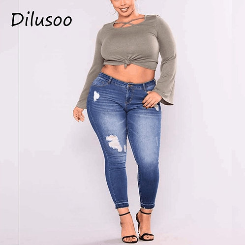 Dilusoo Women Ripped Plus Size Jeans