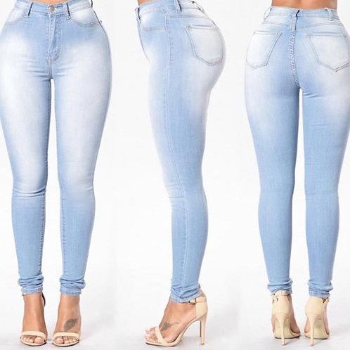 White Elastic Skinny Stretch Jeans