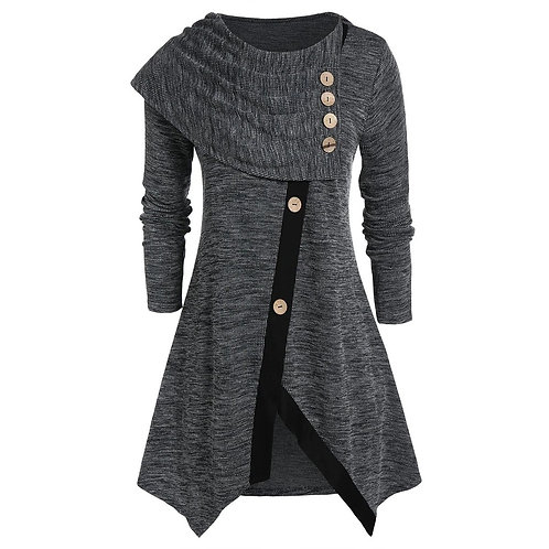 Irregular Blouse Casual Winter Ladies O-Neck