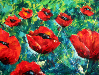 Poppy Explosion with a Palette Knife