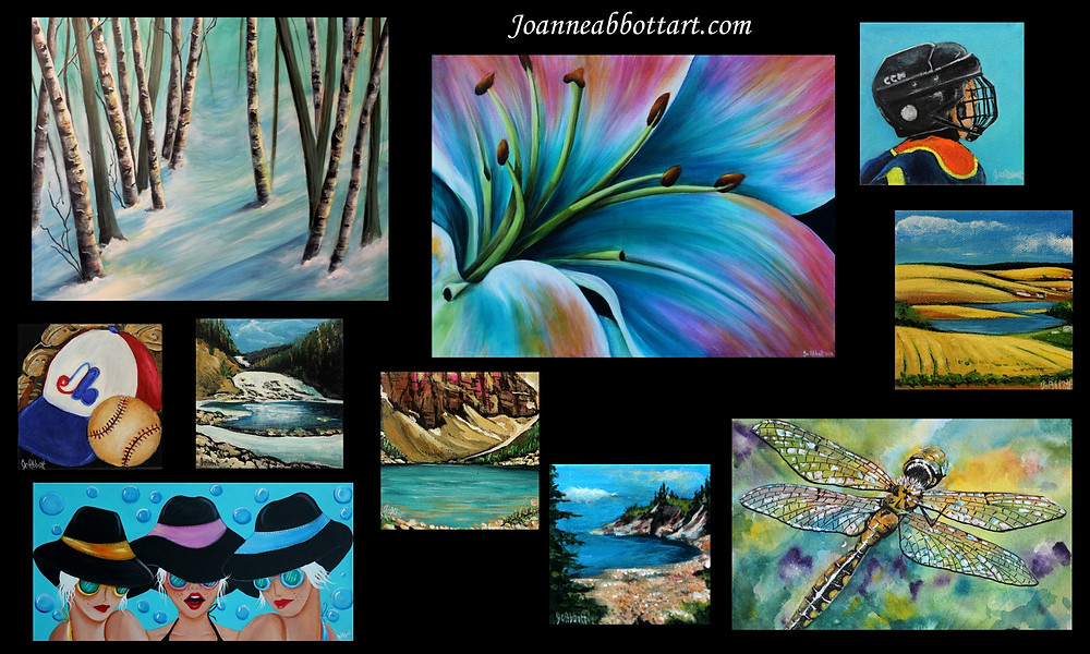 Mostly acrylic paintings except for the Dragonfly which is watercolor  and ink.
