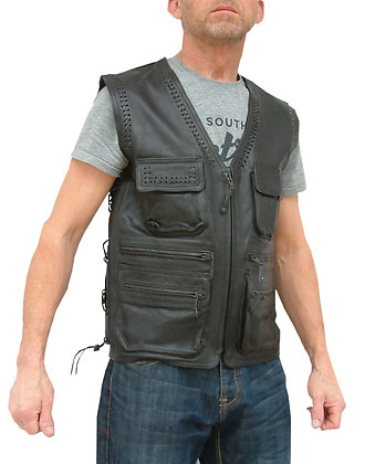 BRAIDED mens leather waistcoat