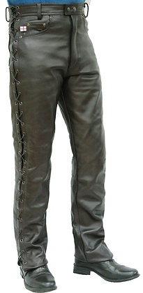LACED  JEANS   mens leather trousers