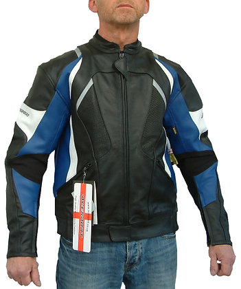ELIMINATOR mens leather motorcycle jacket (Red or Blue  SALE PRICE £100    )
