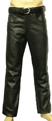 WESTERN JEANS mens leather cruiser style motocycle jeans