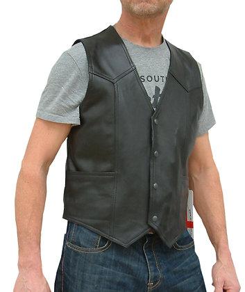 PLAIN mens Biker grade leather waistcoat