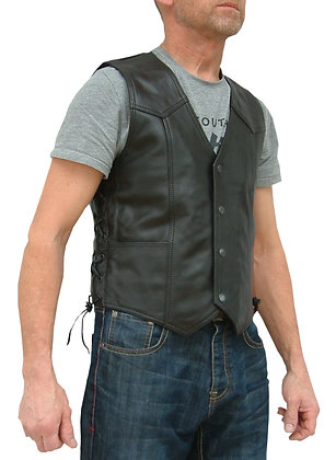 LACED mens Biker grade leather waistcoat