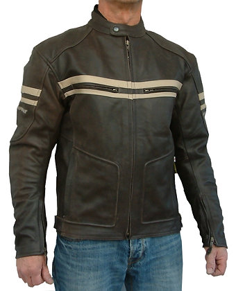 MK1 RETRO mens brown leather motorcycle jacket