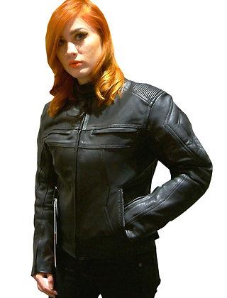 V TEX ladies leather motorcycle jacket