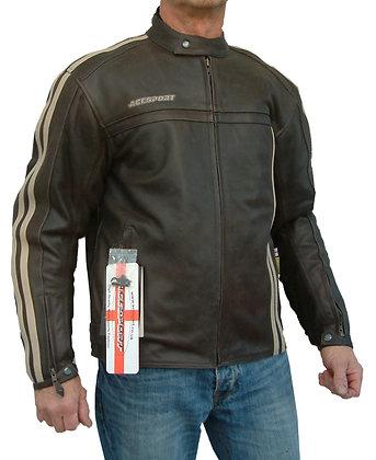 MK2  RETRO mens brown leather motorcycle jacket