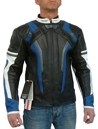 REVSTAR men`s leather sports motorcycle jacket (Red or Blue)
