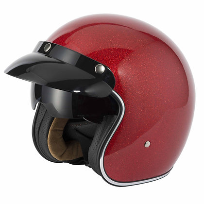 Vcan V 537 CANDY METAL FLAKE open face helmet (red or silver)