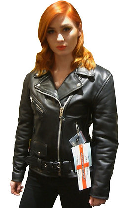 HIGHWAY PATROL ladies leather motorcycle jacket(16 - 20 )