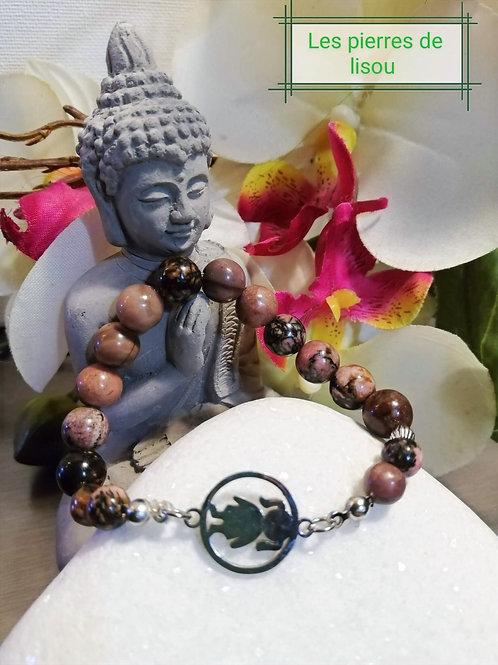 bracelet medaillon petite fille rhodonite