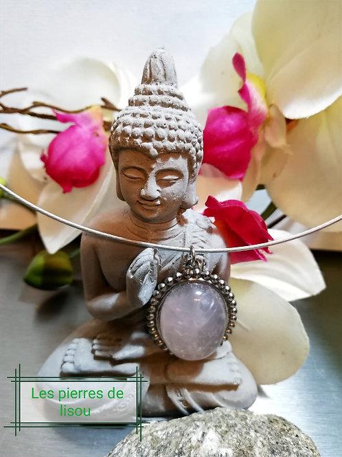 Pendentif cabochon quartz rose