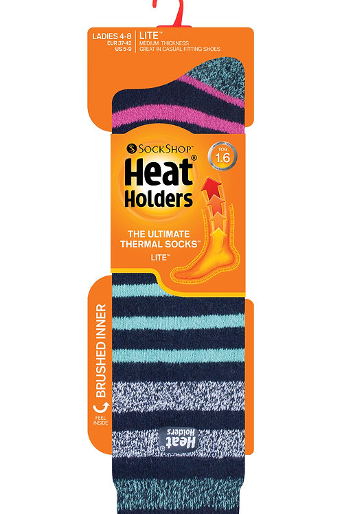 Ladies Long LITE Heat Holders - Stripe Navy/Aqua