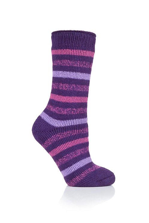 Ladies Stripe Heat Holders - Rosebud Purple
