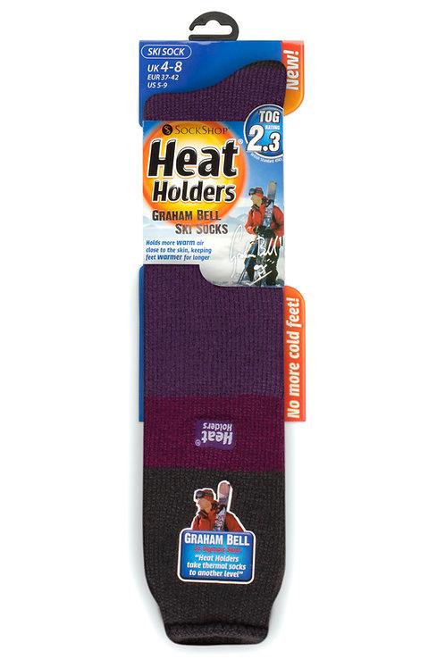 Ladies Ski Heat Holders - Charcoal/Fuchsia/Purple