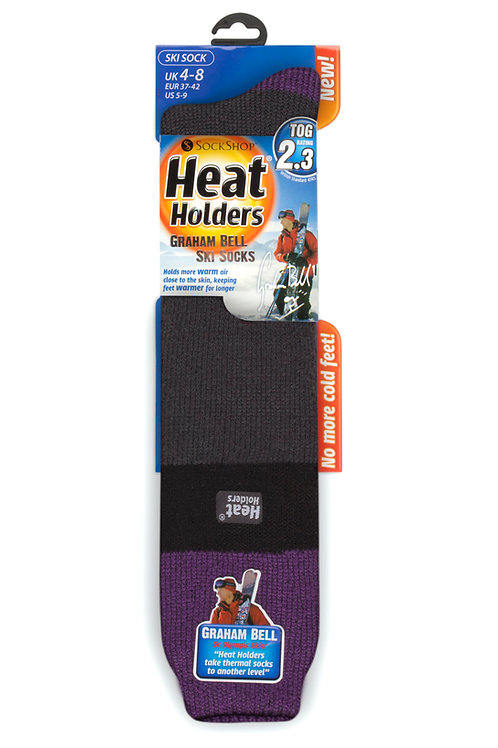 Ladies Ski Heat Holders - Purple/Black/Charcoal