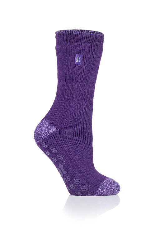 Ladies Slipper Heat Holders - Juniper Purple