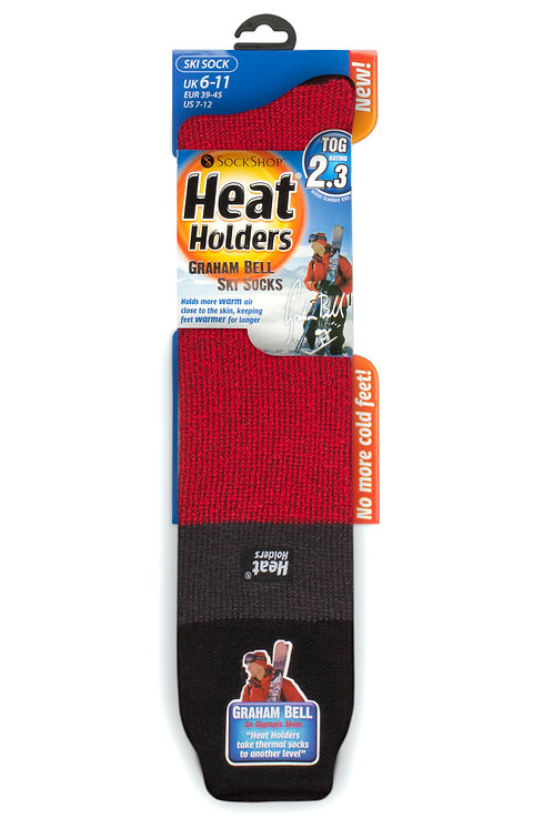 Mens Ski Heat Holders - Black/Charcoal/Red