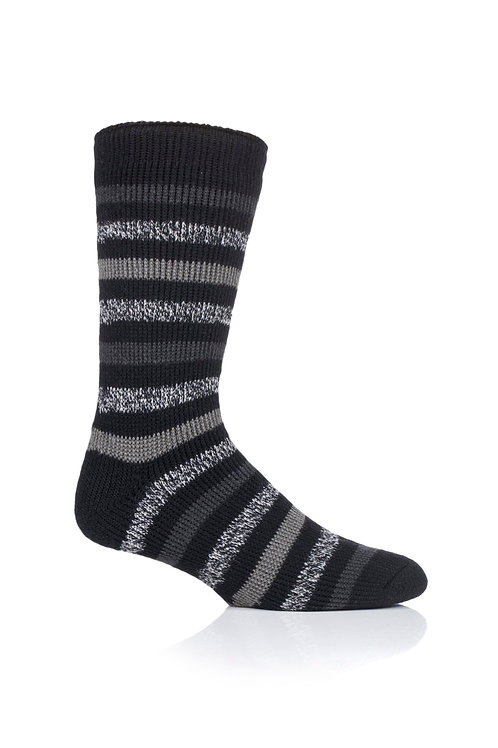 Mens Stripe Heat Holders - Brambling Black Charcoal